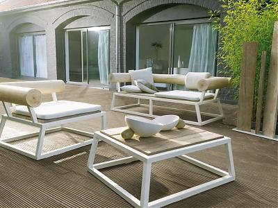 Salon de jardin inox et bois - Abri de jardin et balancoire idée