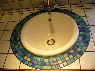 Mosaïque et carrelage du lavabo